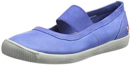 Softinos Damen ION446SOF Washed Geschlossene Ballerinas, Blau (Lavender Blue), 37 EU
