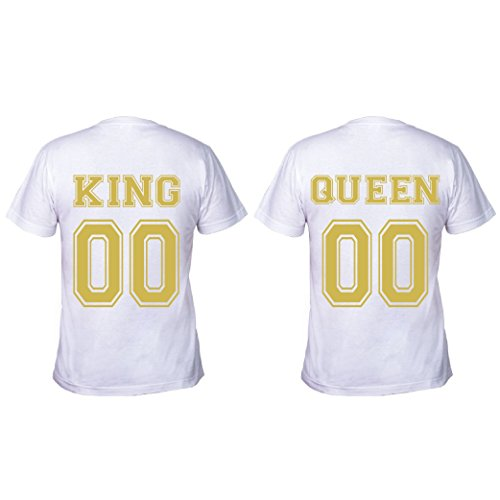 love print - Par de Camisetas de Pareja enamoradas King & Queen Your N
