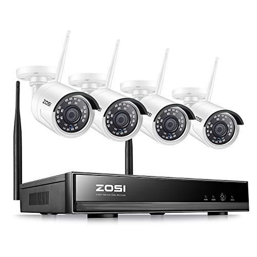 ZOSI 1080P Außen Funk Überwachungssystem 8CH H.265+ HDMI NVR mit 4 Full HD 2.0 Megapixel Drahtlos Überwachungskamera Set Wireless CCTV System ohne Festplatte, 20M IR Nachtsicht