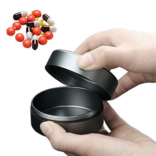 Y-only Caja medicamentos Metal Mini Pastillero de Bolsillo Pastillero Redondo pequeño Impermeable portátil Caja medicamentos Viaje Diario Vitaminas Organizador,S