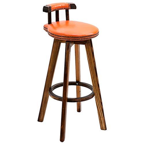 ZYCSKTL Silla de Bar Home Taburete de Bar Giratorio Retro, Silla de Bar para cafetería con Respaldo y reposapiés, Adecuado para encimeras de más de 90 cm (Color : Orange, Size : 32 * 73cm)