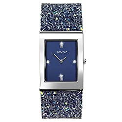 Seksy Rocks Blue and Silver Bracelet Watch 2758 for women who love a pop of colour, this Seksy bracelet watch is an on-trend, statement wrist accessory. This timepiece features a rectangular rhodium plated case enclosing a vibrant blue stone set dial...