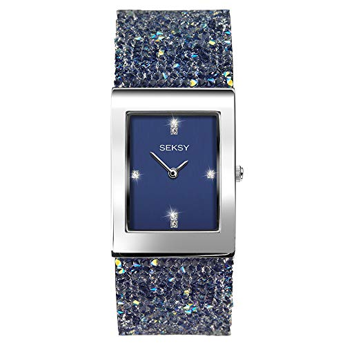 Seksy Rocks Womens Blue Dial Blue Stone Set Bracelet Watch 2758