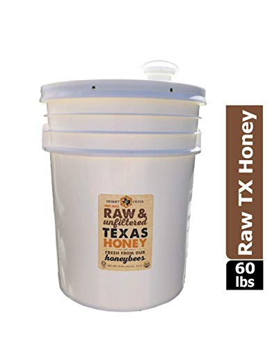Raw, Unfiltered, Unpasteurized Texas Honey by Desert Creek Honey 5 Gallon (60 lbs) Bulk Bucket Non-GMO, Kosher