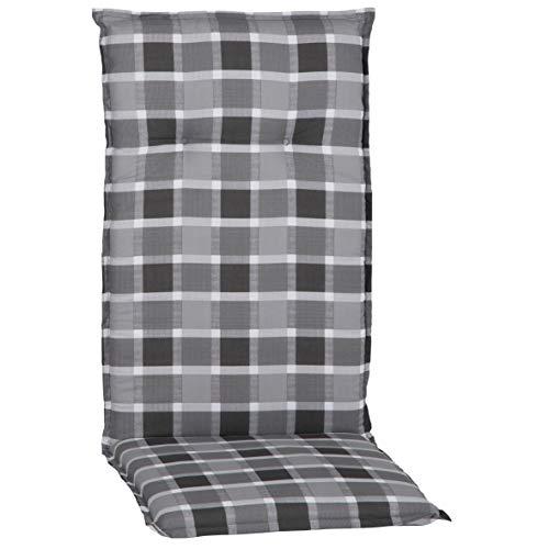 greemotion Stuhlauflage Almeria, Sitzkissen für Hochlehner, Polster aus Polyester und Baumwolle, Stuhlkissen grau kariert, Maße: 118 x 5,5 x 50 cm