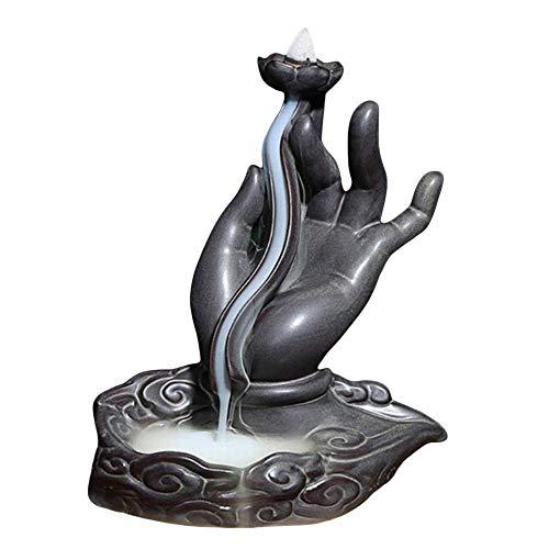 Incienso de reflujo, quemador de incienso hecho a mano, de cerámica, para decoración del hogar, con 10 conos de incienso de reflujo