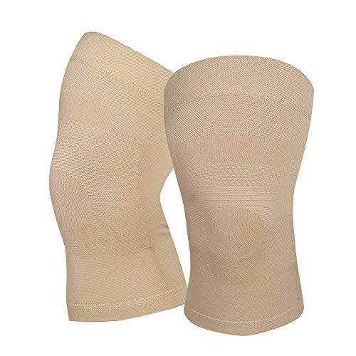 Knee Compression Sleeves, 1 Pair, Can Be Worn Under Pants, 20-30mmHg Strong Support Knee Brace for Unisex, Knee Support for Meniscus Tear, Arthritis, Pain Relief, Injury Recovery, Sports, Daily Wear, Beige S
