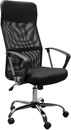 Drehbarer Bürostuhl mit hoher Rückenlehne aus Mesh-Stuhl Sitz Schreibtisch Schreibtische Höhe Höhenverstellbarer Sessel Schwarz Neu