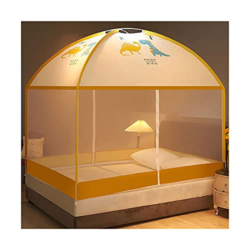 DSMGLRBGZ Mosquitera Cama Tela Dosel, Puerta Doble Plegable para Cama de 1.2/1.5/1.8, Chicas & Adultos Twin a King Size Bed,Amarillo,1.5 Bed