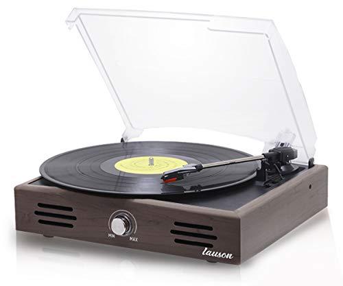 Tocadiscos Lauson JTF036 Función de Grabación Encoding PC-Link | Tocadiscos de Vinilo Vintage con Altavoces Incorporados | Reproductor de Vinilo con 3 Velocidades (33/45/78 RPM) (Wengue)