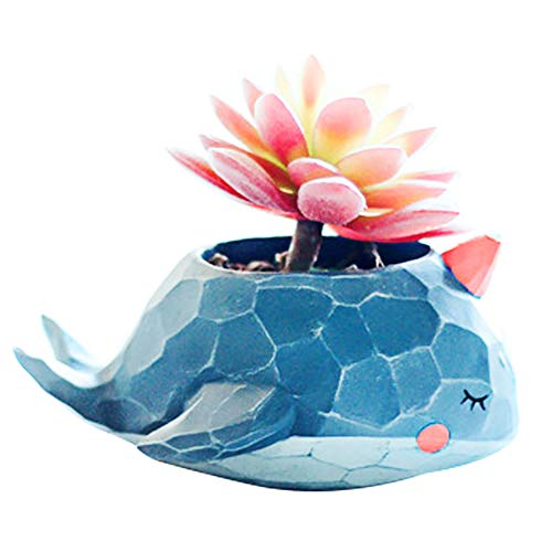 Gift For Her - Indoor Cute Plant Pots Flower Vase for Planters Herb - A Garden Ornaments/Decoration With Small Blue Elephant Animal Shape for Auntie Mom Children Men Women At Home Kitchen Windows