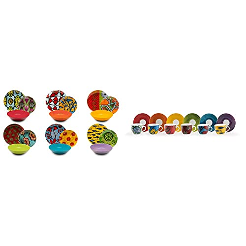 Excelsa Afrika Servizio Piatti 18 Pezzi, Porcellana e Ceramica, Multicolore & Afrika Set 6 Tazzine da caffe con Piattino, Porcellana, Multicolore