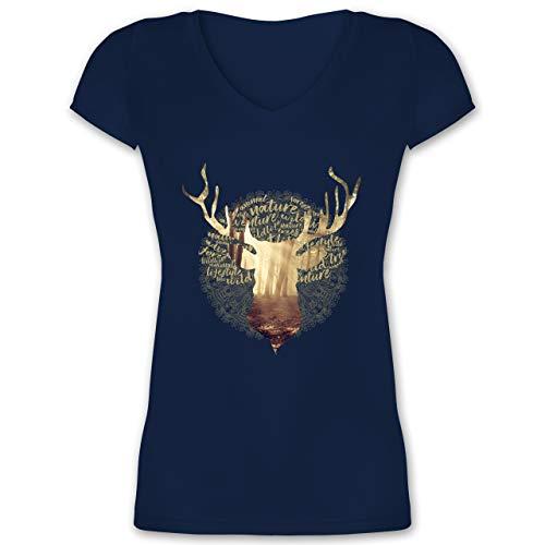 Oktoberfest & Wiesn Damen - Hirsch - XL - Dunkelblau - Oktoberfest Kleidung Damen - XO1525 - Damen T-Shirt mit V-Ausschnitt