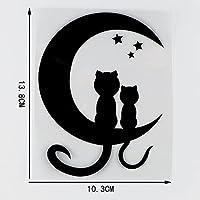 素敵なステッカー 10。3X13.8CM2つの暖かいものとロマンチックな猫が月の星を見ているビニール車のステッカーデカール黒/銀 車のステッカー (Color Name : Black)