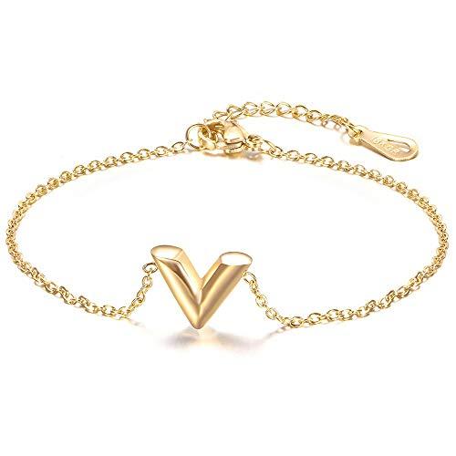 LPZW V letter necklace ear ring bracelet titanium steel set Jewelry set stainless steel jewelry three-piece V-shaped bracelet (Color : F)