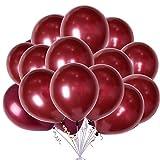 100pcs 12' Burgundy Latex Balloons Wine Red Pearl...