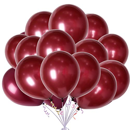 100pcs 12' Burgundy Latex Balloons Wine Red Pearl Balloons Decorations Great for Birthday Bachelorette Party Supplies Decorations