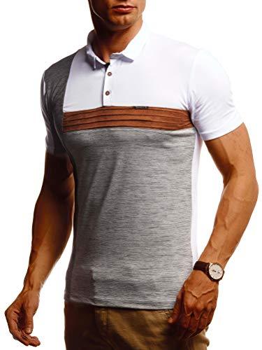 Leif Nelson Herren Sommer T-Shirt Poloshirt Slim Fit Cooles Basic Männer Polo-Shirt Crew Neck Jungen Kurzarmshirt Polo Shirt Sweater Kurzarm LN55160 Weiß Grau X-Large