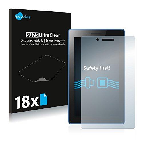 Savvies 18x Schutzfolie kompatibel mit Lenovo Tab3 7 Essential Bildschirmschutz-Folie Ultra-transparent