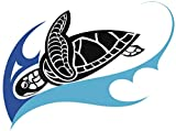 EW Designs Elegant Tropical Hawaiian Sea Turtle Honu and Waves Cartoon Vinyl Decal Bumper Sticker (4' Wide, 1)