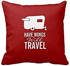 Provenz Have Wings Will Travel Shasta Camper Trailer DecorativeGeneric Cotton Throw Pillow Case Vintage Cushion Cover,18x18 INCH
