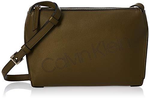 Calvin Klein Punched Ew Xbody, Damen Umhängetasche, Grün (Drk Olive), 6x17x24 cm (W x H L)