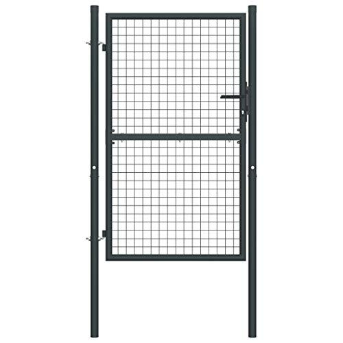 vidaXL Cancello per Giardino in Acciaio Zincato 100x250 cm Grigio