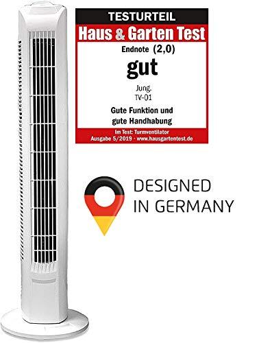 JUNG TV01 Turmventilator 76cm weiss, TESTSIEGER 2020 - NOTE 2,0 (GUT) - BESTSELLER NR1, Leise Turm-lüfter Lautstärke max 48dbA, Ventilator ENERGIESPAREND 0,05 kW/h, 3 Stufen, 75° Oszillierend/Drehend