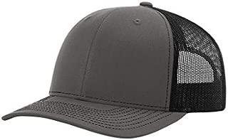 Twill Mesh Back Trucker Snapback Hat -- Charcoal/Black
