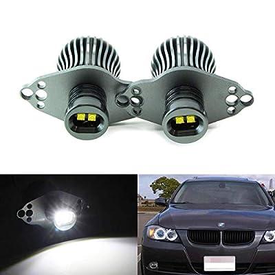 iJDMTOY LED Angel Eye Marker Bulbs Compatible with 2006-08 BMW E90 3 Series HID Xenon Headlights & 2009-12 BMW 3 Series LCI Standard Halogen Headlights, 20W Xenon White High Power CREE LED Light