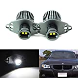 iJDMTOY LED Angel Eye Marker Bulbs Compatible With 2006-08 BMW E90 3 Series HID Xenon Headlights & 2009-12 BMW 3 Series LCI Standard Halogen Headlights, 20W Xenon White High Power CREE LED Light
