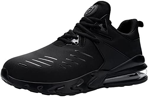 LARNMERN PLUS Zapatillas de Seguridad Hombre Trabajo Zapatos de Seguridad Ligeras Comodo Punta de Acero Air Cushion Calzado de Seguridad Transpirables Antideslizante Verano(Negro,47EU)
