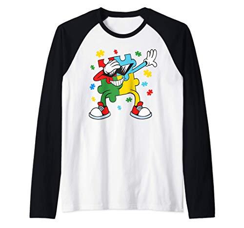 Consciencia sobre el autismo Dabbing Puzzle Piece Kids Boys Camiseta Manga Raglan