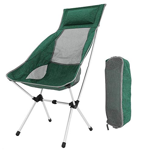 Folding Camping Chairs, Compact Portable Ultralight Folding Backpacking Chairs with Carry Bag for Hiker, Camping, Beach, Fishing, Picnic, Outdoor, Garden, BBQ (Green, Hold up to 400 lb)