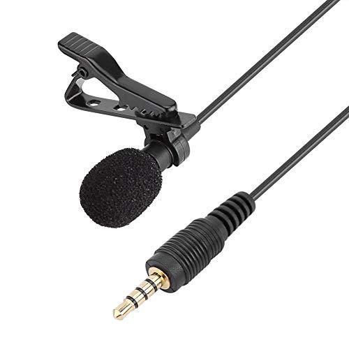 Micrófono con clip, 3,5 mm de solapa macho condensador manos libres...