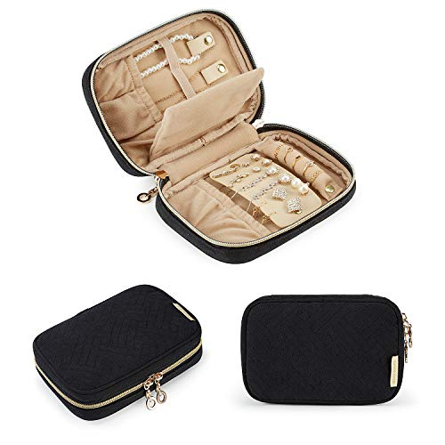 BAGSMART Travel Jewelry Organizer Case Small Jewelry Roll for Journey-Rings, Necklaces, Earrings, Bracelets, Black