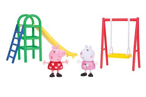 Jazwares 92691 - Peppa Wutz Spielplatz Spaß mit Figuren, Spielset mit Peppa und Luzie Locke als Actionfiguren, mit Schaukel und Rutsche, Original Peppa Pig Spielfiguren Set für Kinder ab 2 Jahren