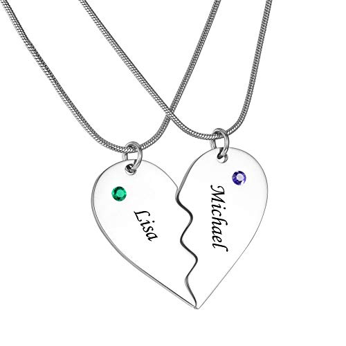 Personalized Engraved Stainless Steel Matching Heart Puzzle Pendant His and Hers Necklace Custom Couple Name Necklaces(2 Half Heart-Silver)