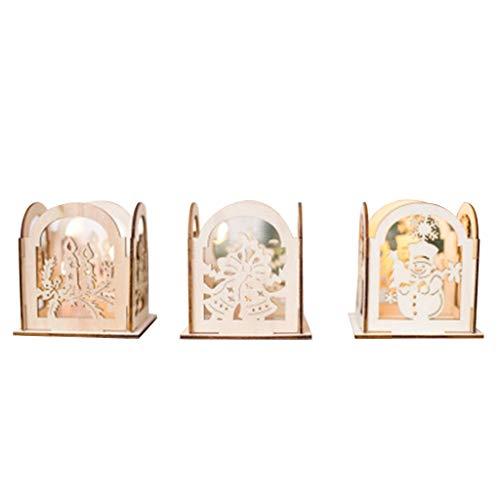 lyqdxd 2019 Navidad boda 3 piezas/set de portavelas de Navidad caja de madera luces de té centros de mesa para decoración del hogar