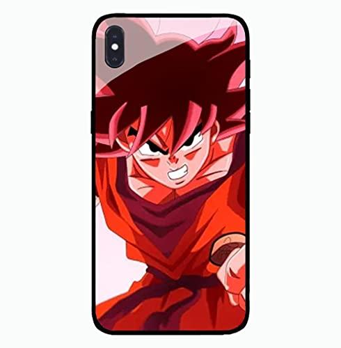 Estuche para Teléfono con Cordón Cubierta Protectora De Brillo Nocturno Carcasa De Vidrio Templado Antifricción Serie 3D Anime Dragon Ball Compatible con iPhone 12 Pro