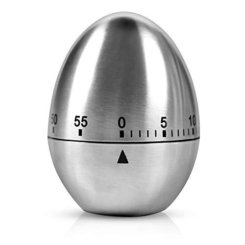 Edelstahl Eieruhr, Mechanischer Küchenwerkzeug Zeitgeber, Zeitmesser Küche, Kurzzeitmesser Küchentimer Eiförmige Kurzzeitwecker