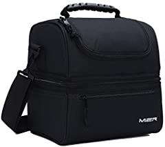 MIER reusable lunch box with a soft pu handle strap and a detachable shoulder strap for easily carry. Upper compartment easy to access through front opening with a 2-way dual zipper closure Two sections that keep cold and warm items separate. On top,...