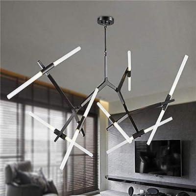 Industrial Chandelier Modern Metal Acrylic Branch Pendant Lamp Light Ceiling Fixtures for Living Room Dining Room Lighting (14-Light Black)