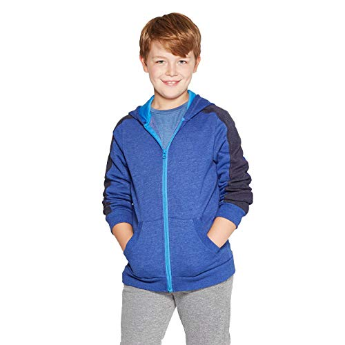 Champion C9 Boys' Authentic Fleece Sweatshirt Full Zip Hoodie - (Heather Blue, XS 4/5)