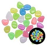 Trihedral-X 50 / 100 piedras brillantes en la oscuridad, piedras brillantes para jardín, camino, patio, prato, decoración de jardín (color: mezcla, dimensiones: 100 piezas)