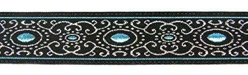 10m Brokat Borte Webband 16mm breit Farbe: Schwarz-Blau-Lurexsilber von 1A-Kurzwaren 16805-swblsi