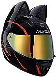 Allround Helmets Casco de Moto Niña Mujer Casco de Oreja de Gato Certificado por Dot Casco de Moto Integral Four Seasons Cascos modulares con Visera para Street Bike Racing Motocross ATV 4,L(57-59cm)