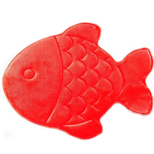 Hughapy Bathmat Slow Rebound Memory Foam Children Bath Rug Christmas Fish Rugs Water Absorbing Slip Resistant Coral Fleece Mat Doormat Carpet (Red)