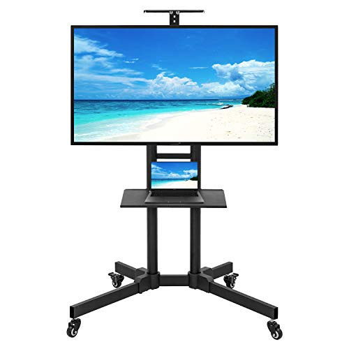 Mobile TV Cart Stand with Wheels for 32-65 Inch LCD LED 4K Flat Curved Screen TVs - Rolling TV Stand Height Adjustable Shelf Trolley Floor Stand Holds up to 56lbs