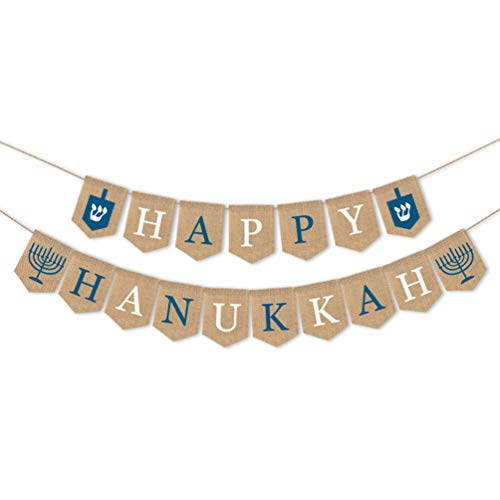 Amosfun Happy Hanukkah Banner Burlap Letters Garland Bunting Hanging Tree Pendant Holiday Party Decoration Ornament 1pc